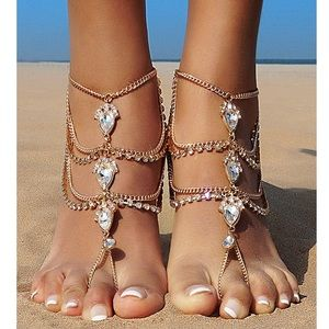 Gold and CZ Foot Chains - 2 Pieces